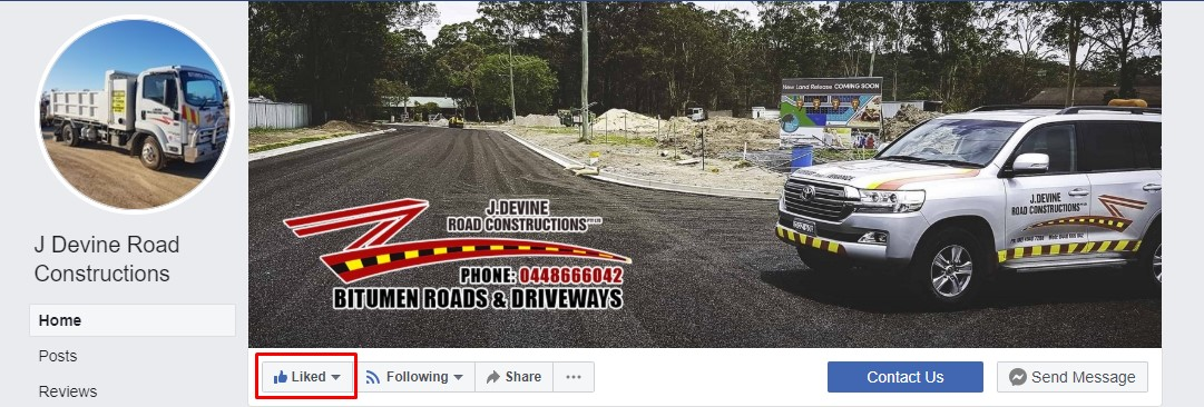 Like J. Devine Road Constructions on Facebook